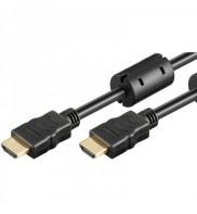 Cablu HDMI A tata la HDMI A tata, 1m, 1.4V, ecranat, cu Ethernet, ARC, cu ferita, contacte aurite