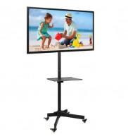 Stand TV mobil + raft DVD, 23 - 55 inch, reglabil, Negru