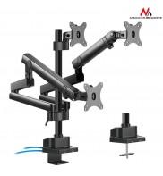 Suport de birou pentru 3 monitoare, aluminiu + otel, brate reglabile, arcuri gaz, 17 - 32 inch, 2x USB 3.0, Negru, MC-811